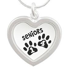 Seniors 2014 Paw Prints Silver Heart Necklace