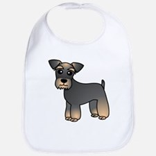 Cute Miniature Schnauzer Cartoon Bib