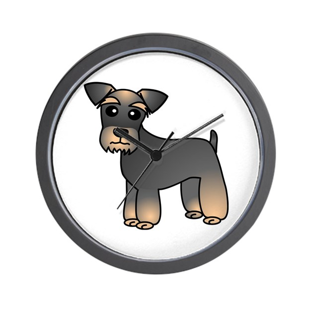 Cute Miniature Schnauzer Cartoon Wall Clock By Muttsandwhats