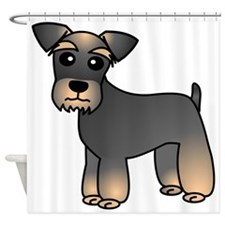 Cute Miniature Schnauzer Cartoon Shower Curtain