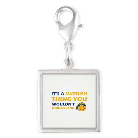 Swedish smiley designs Silver Square Charm