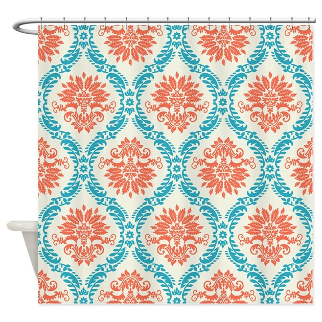 Tangerine And Aqua Damask Shower Curtain By Doonidesigns