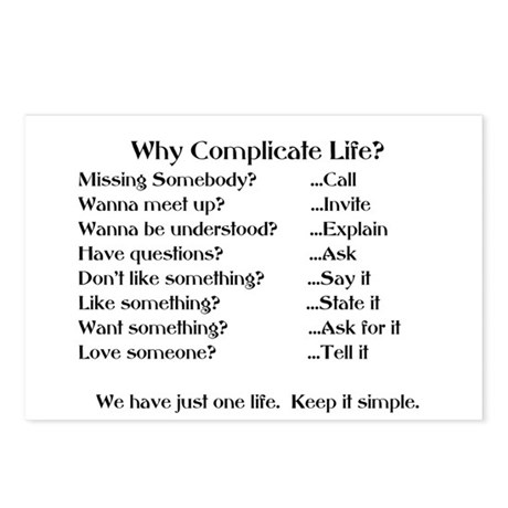 WHY COMPLICATE LIFE? Postcards (Package of 8)