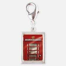 British Red Telephone Box Silver Portrait Charm