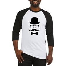 Funny Mustache Face With Top Hat Baseball Jersey