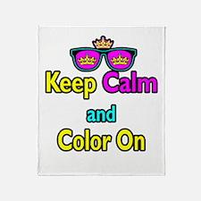 Crown Sunglasses Keep Calm And Color On Throw Blan