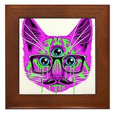 Hallucination Cat Framed Tile