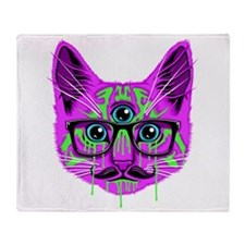 Hallucination Cat Throw Blanket