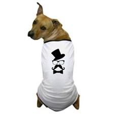Funny Mustache Face With Top Hat Dog T-Shirt