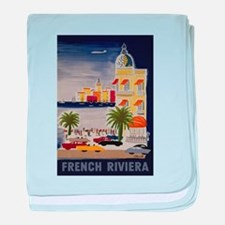 Vintage French Riviera Travel Ad baby blanket