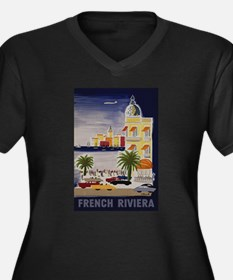 Vintage French Riviera Travel Ad Plus Size T-Shirt