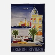 Vintage French Riviera Travel Ad 5'x7'Area Rug