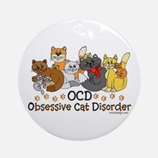 OCD Obsessive Cat Disorder Ornament (Round)