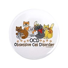 "OCD Obsessive Cat Disorder 3.5"" Button (100 pack)"