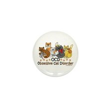 OCD Obsessive Cat Disorder Mini Button (100 pack)