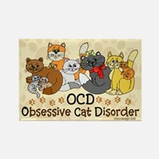 OCD Obsessive Cat Disorder Rectangle Magnet