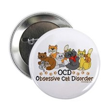 """OCD Obsessive Cat Disorder 2.25"""" Button (10 pack)"""