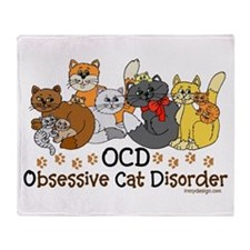 OCD Obsessive Cat Disorder Throw Blanket