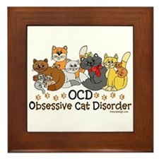 OCD Obsessive Cat Disorder Framed Tile