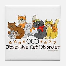 OCD Obsessive Cat Disorder Tile Coaster