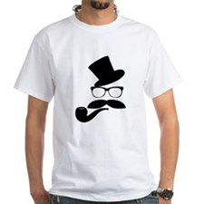 Funny Mustache Face With Pipe T-Shirt