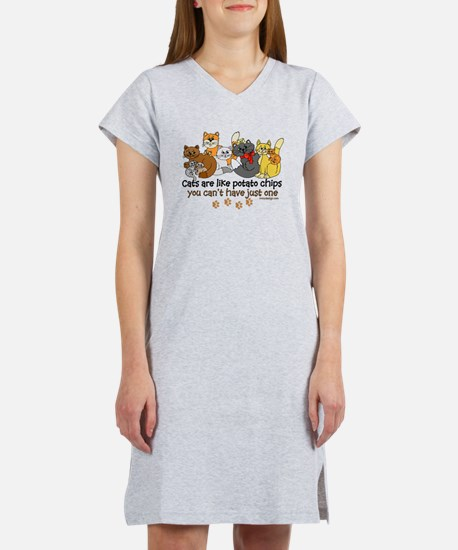 Cats are like potato chips Women's Nightshirt