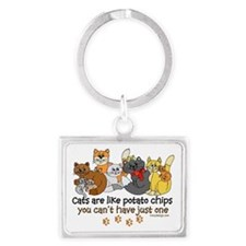 Cats are like potato chips Landscape Keychain