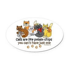 Cats are like potato chips Oval Car Magnet