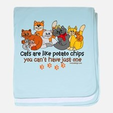 Cats are like potato chips baby blanket