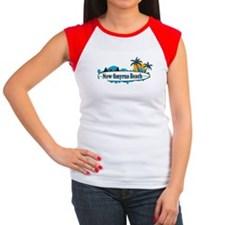 New Smyrna Beach - Surf Design. Women's Cap Sleeve