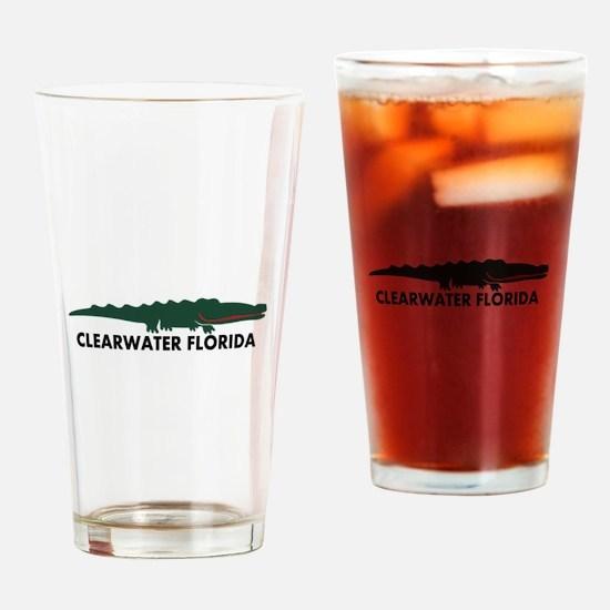 Clearwater FL - Alligator Design. Drinking Glass