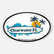 Clearwater FL - Surf Design. Sticker (Oval)
