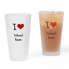 I Love School Buses Drinking Glass