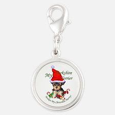 Yorkshire Terrier Silver Round Charm