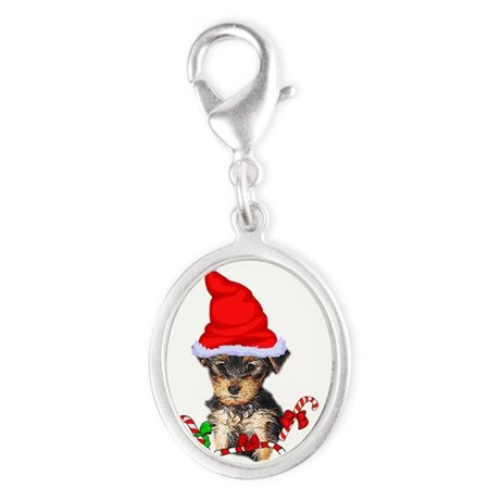 Yorkshire Terrier Silver Oval Charm