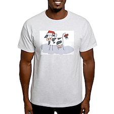 Cute Christmas Cow Ash Grey T-Shirt