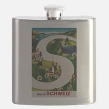 Vintage Switzerland Travel Ad Flask