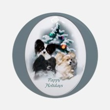 Papillon Christmas Ornament (Round)