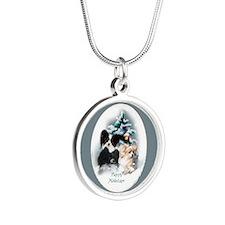 Papillon Christmas Silver Round Necklace