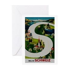 Vintage Switzerland Travel Ad Greeting Card