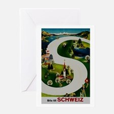 Vintage Switzerland Travel Ad Greeting Card