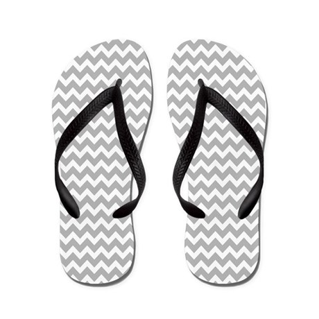 Chevrons White Light Gray Flip Flops