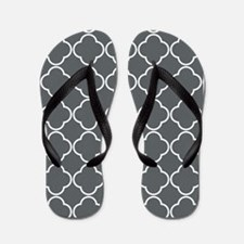 Quatrefoil White and Gray Flip Flops