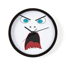 Funny shouting man face Wall Clock