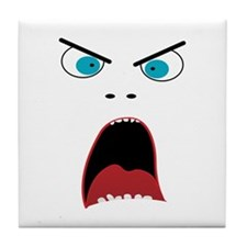 Funny shouting man face Tile Coaster