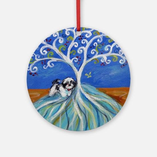 Shih Tzu spiritual love tree Ornament (Round)