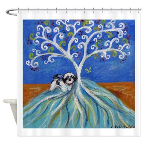 Shih tzu spiritual love tree shower curtain by petartbyangie for Spiritual shower