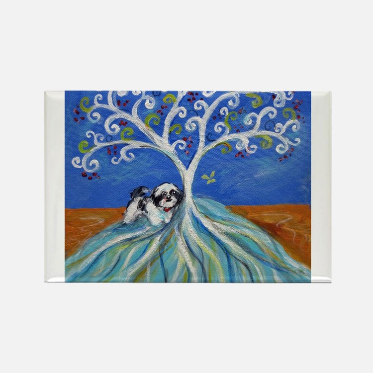 Shih Tzu spiritual love tree Rectangle Magnet