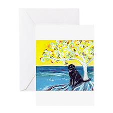 Black Labrador Love Spritual Tree Greeting Card