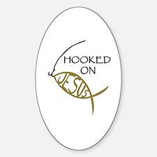 Hooked On Jesus Sticker (Oval)